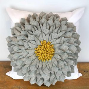 Gray Felt Flower with Mustard Center Pillow Cover