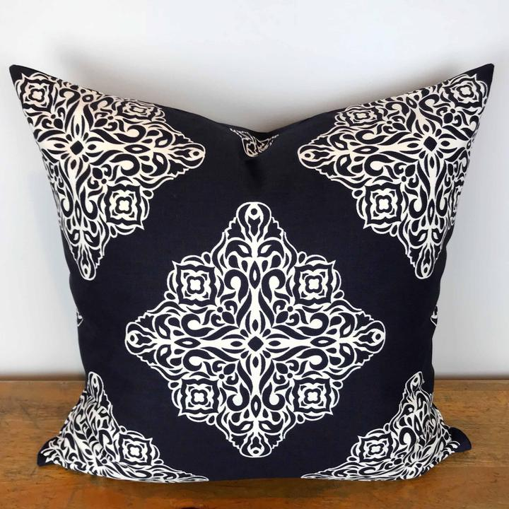Navy Blue Pillow Cover with White Esperanza Medallion Print