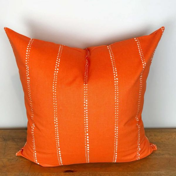 Orange Pillow Cover with White Dot Stripes