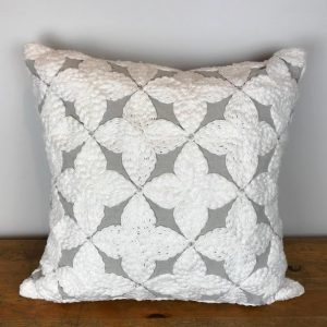 Silver Pillow Cover with White Embroidered Pattern