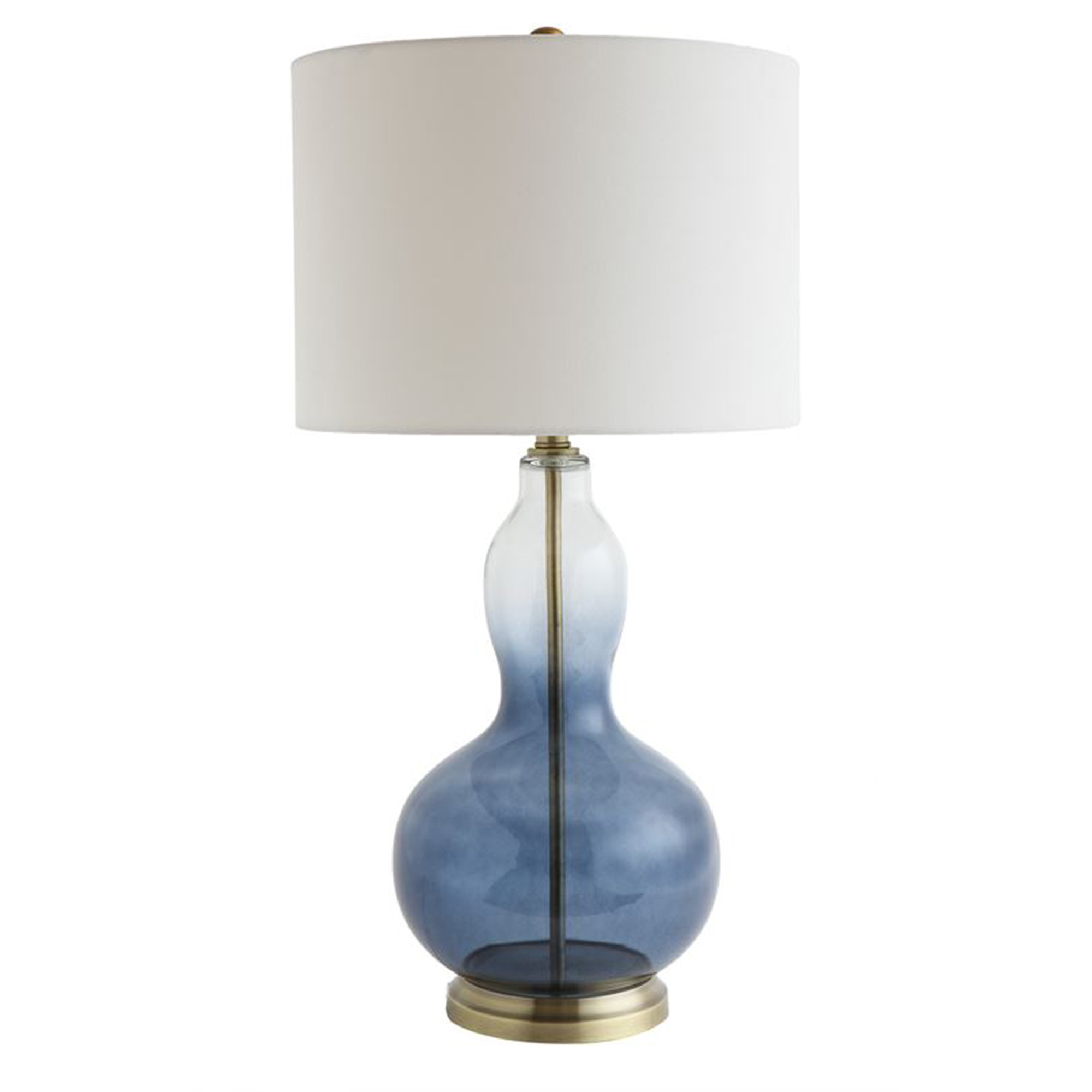 Blue Glass Table Lamp with White Shade