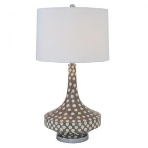 Gray Polka Dot Ceramic Table Lamp White Shade