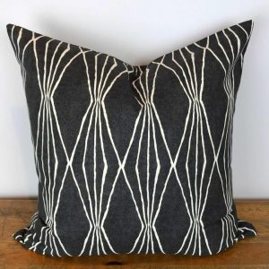 Charcoal Gray Pillow Cover with White Diamond Stripes Print