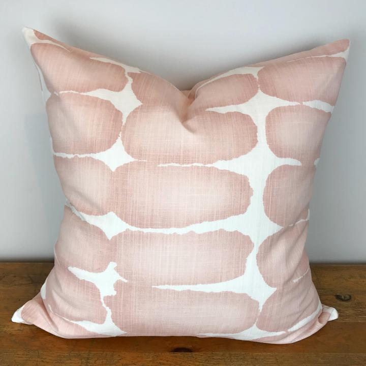 White Pillow Cover with Blush Watercolor Print