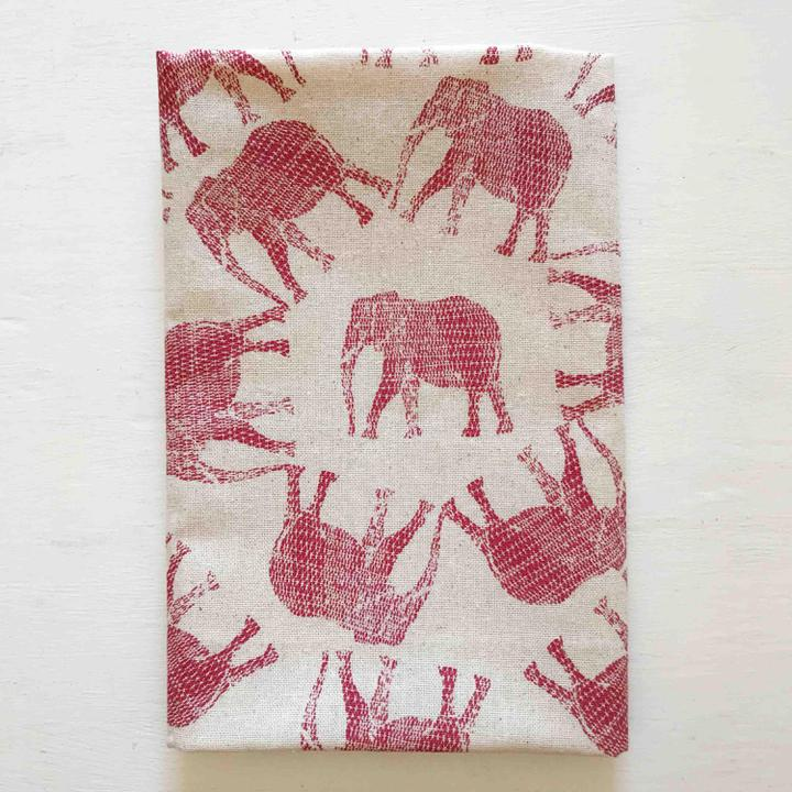 Coral Red Elephant Print Tea Towel