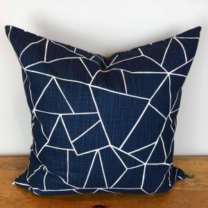 Navy Blue Pillow Cover with White Fractal Print