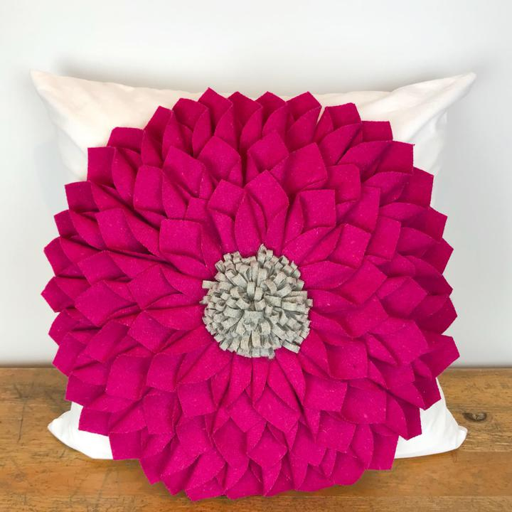 Fuchsia Felt Flower with Gray Center Pillow Cover