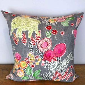 Gray Pillow Cover with Multicolored Safari Print