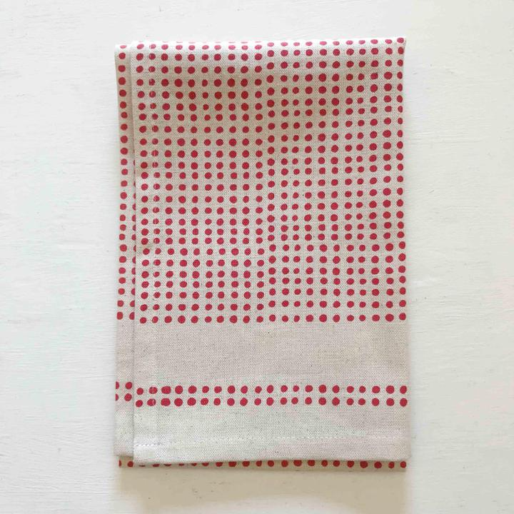 Coral Polka Dot Tea Towel