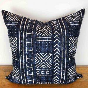 Indigo and White Mali Mud Cloth Pillow Cover