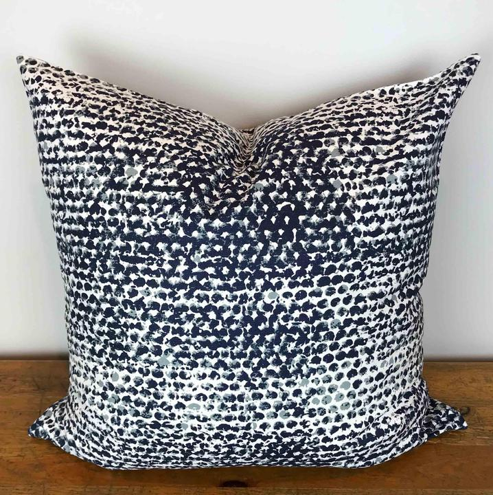 White Pillow Cover with Navy Blue Stamped Dot Print