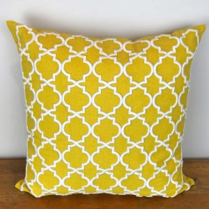 Yellow Pillow Cover with White Embroidered Print