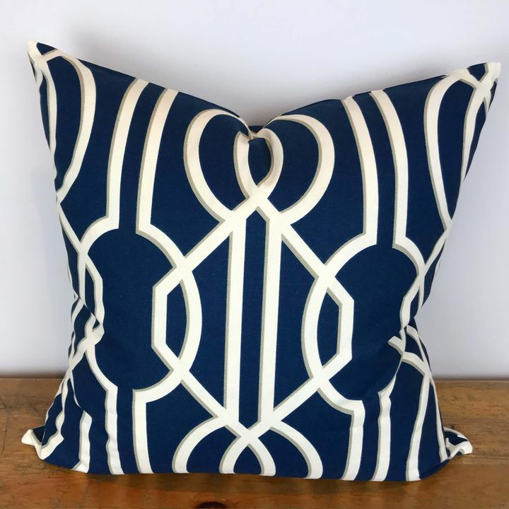 Navy Pillow Cover with White Art Decor Print