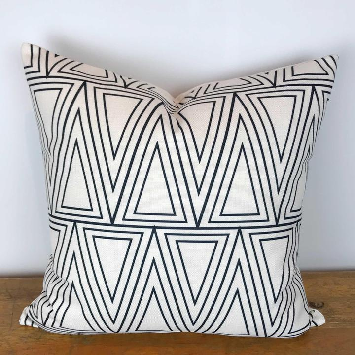White Pillow Cover with Black Stacked Chevron Design