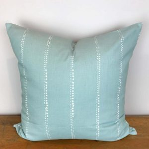 Aqua Blue Pillow Cover with White Dot Stripes