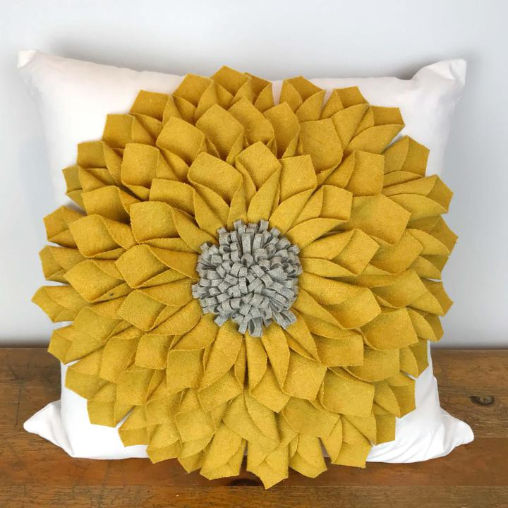 Mustard Felt Flower with Gray Center Pillow Cover