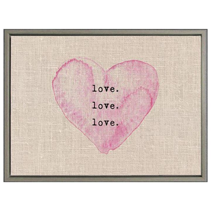 Pink Heart print on burlap with gray wood frame