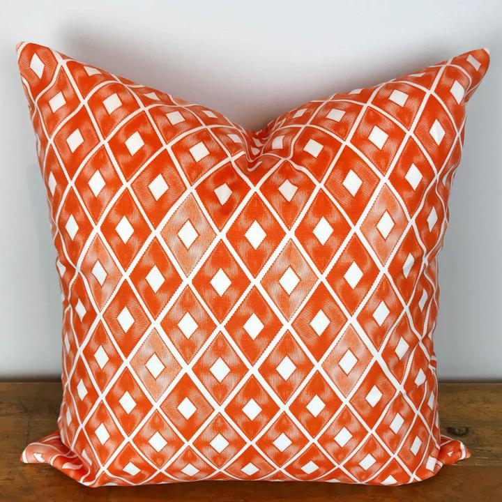 Orange and White Trillion Diamond Print Pillow Cover