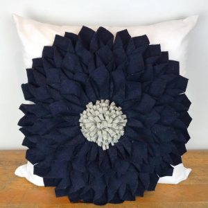 Navy Felt Flower with Gray Center Pillow Cover