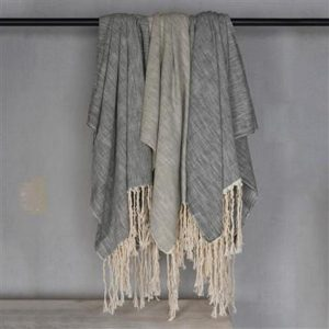 Fringed Linen throw blanket in three colors