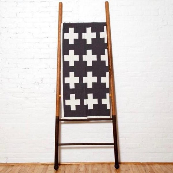 Reversible Swiss Cross Throw Blanket in Black and Cream