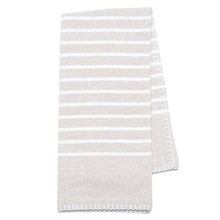 Gray with white stripes organic cotton tea towel