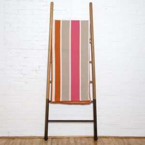 Stacy Garcia Cabana Stripe Throw Blanket in Pink and Orange and Flax