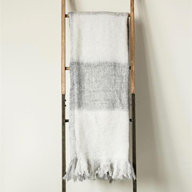Gray and White Mohair Throw Blanket