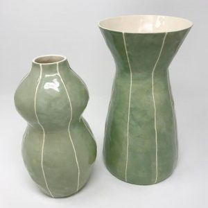 Kri Kri Celadon with white stripes Ceramic Vase