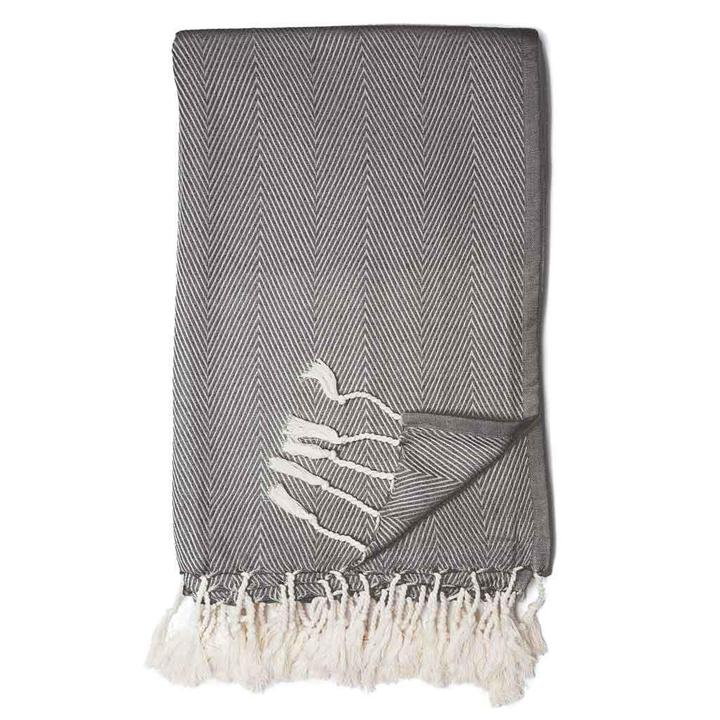 Black and White Herringbone fringe throw blanket