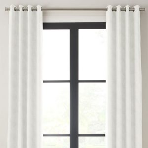 white drapery panel with grommet