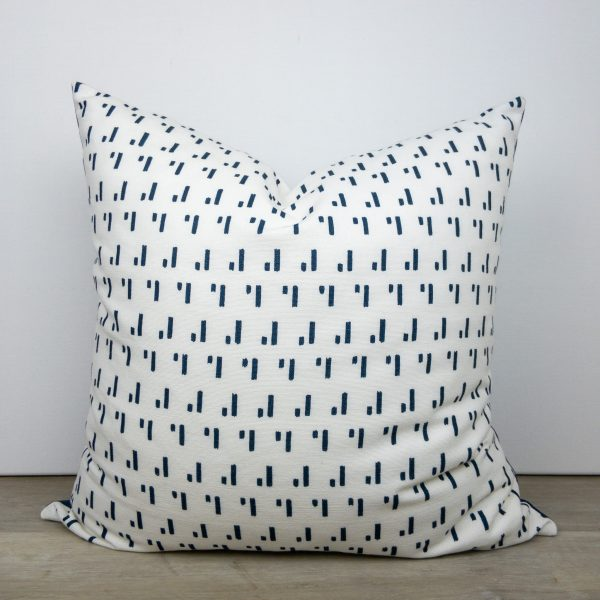 White Navy Blue Print Throw Pillow Cover