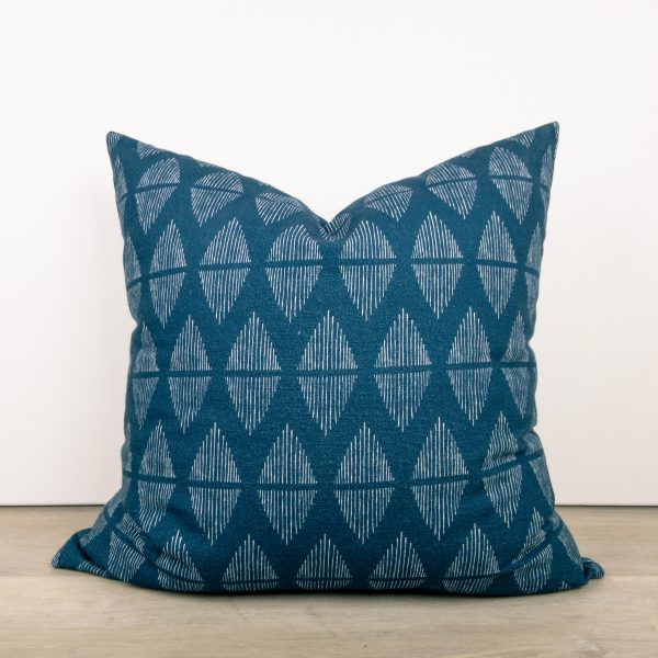 Navy Blue Print Throw Pillow