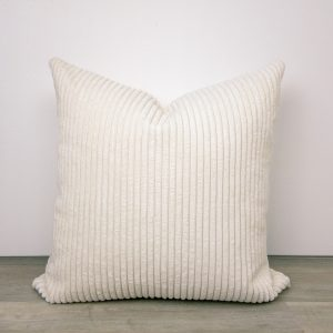 Cream Ivory Ribbed Velvet Pillow