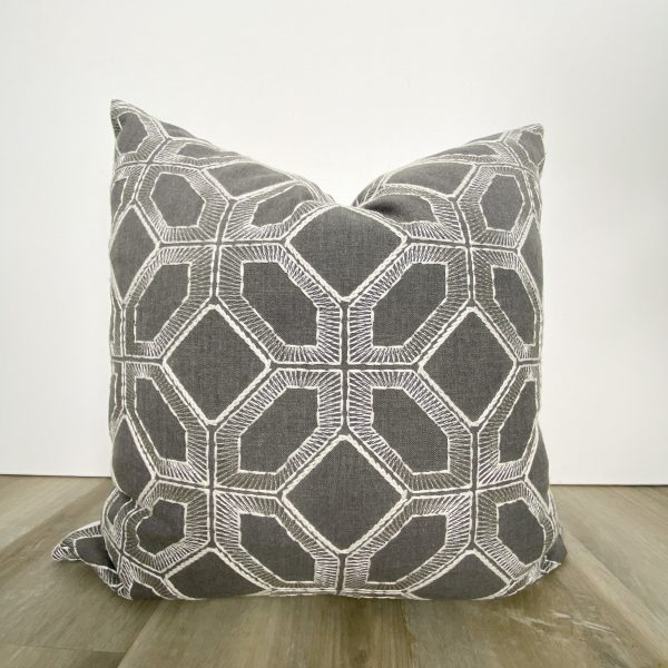 Grey and White Print PIllow