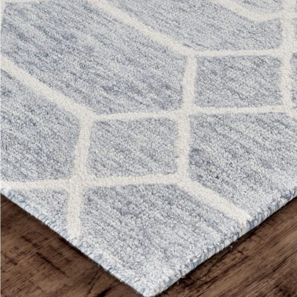 Feizy Belfort Porcelain Blue Gray Tufted Wool Rug