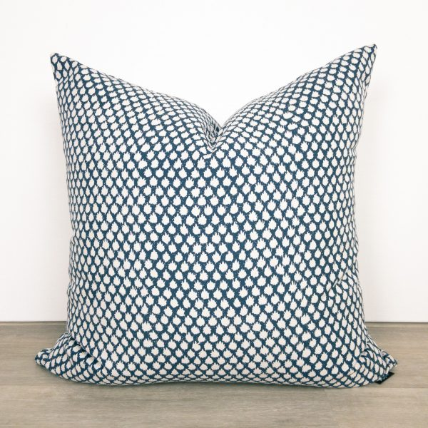 Navy Blue White Print Pillow