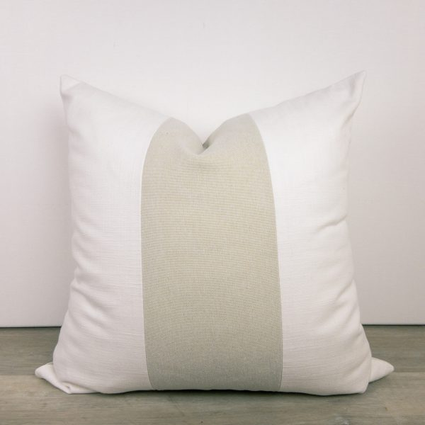 Color Block Striped Cream White Tan Pillow
