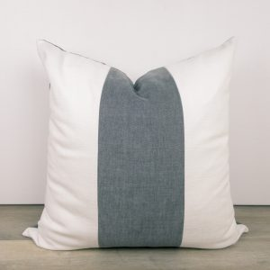 Charcoal Gray Striped Color Block Pillow