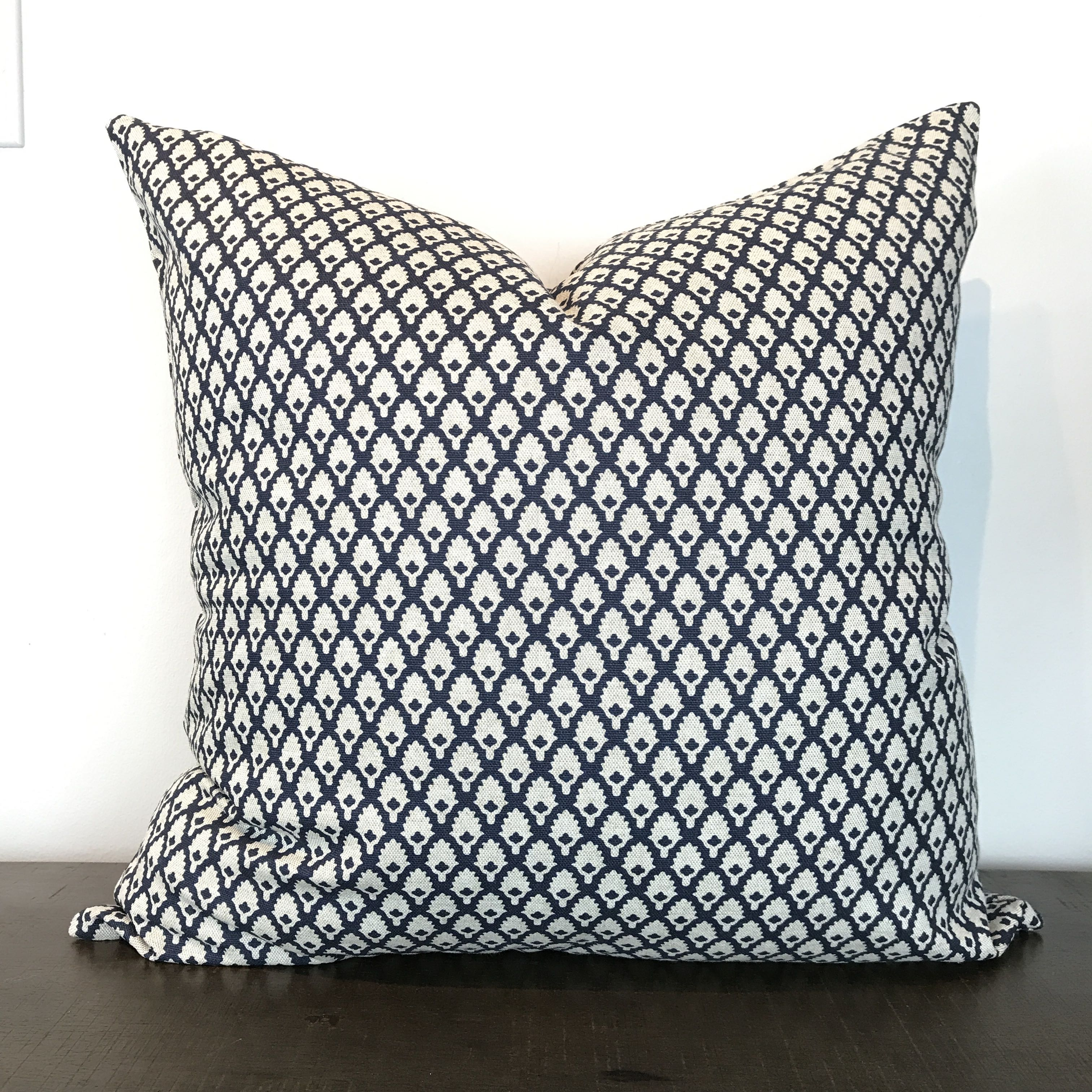 Navy Blue Print Pillow Cover