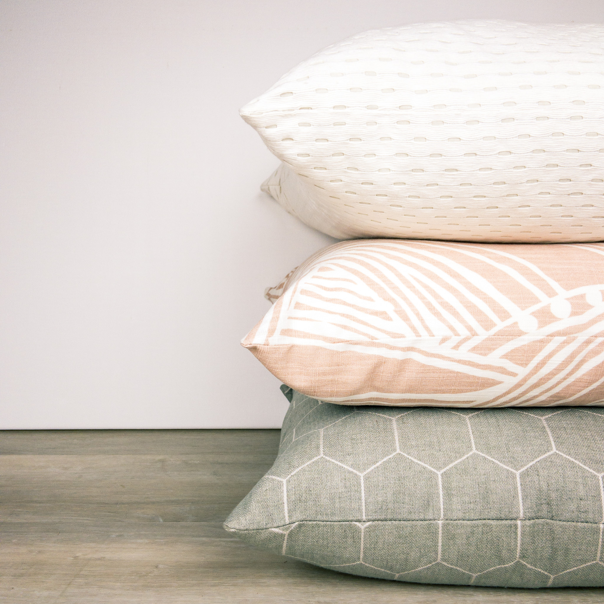 Blush Gray Ivory Pillow Trio