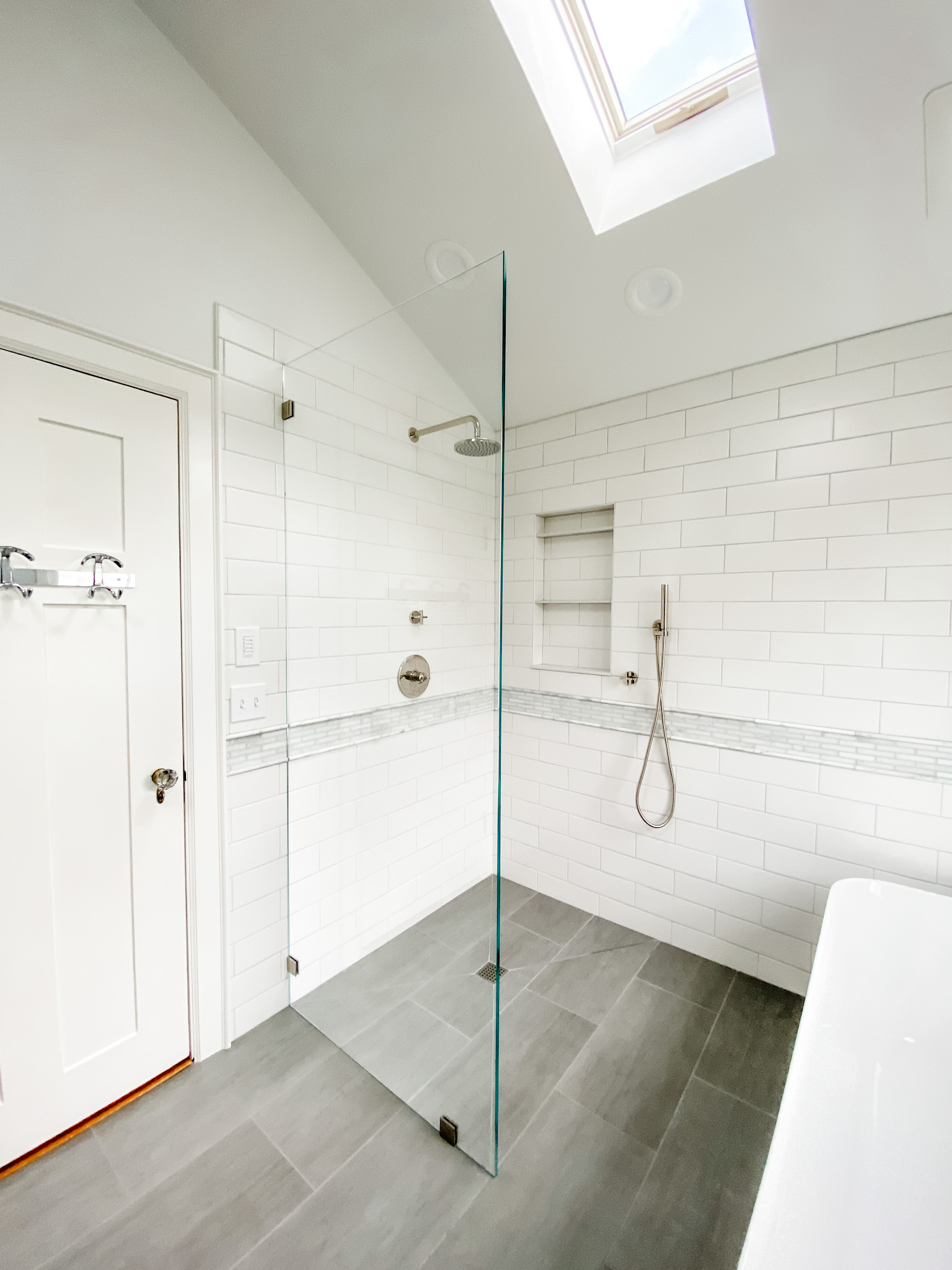 Glass Shower Wall Bathtub Bathroom Design