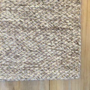 Woven Wool Area Rug Ivory Gray