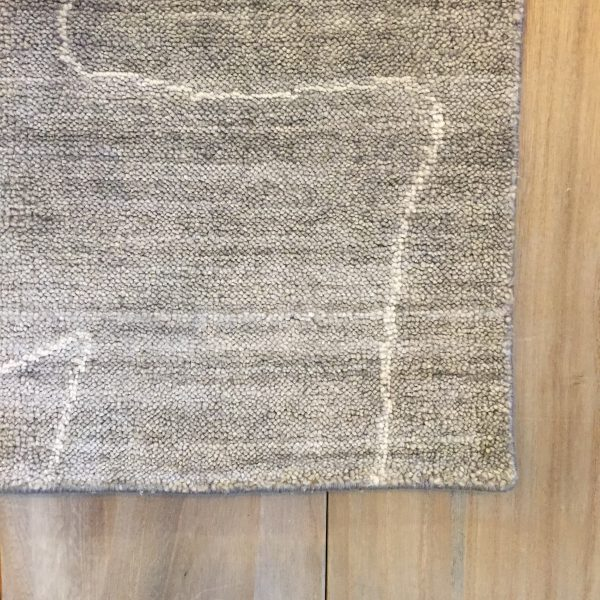 Lennox Gray Wool Area Rug Viscose Pile