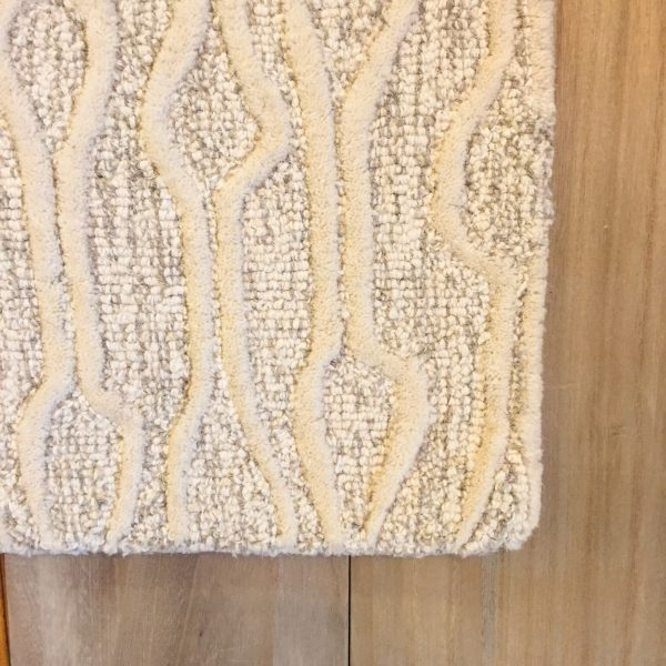 Enzo Wool Cotton Area Rug Ivory Gray Organic Pattern