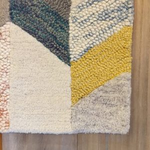 Amazed Area Rug Loop Cut Pile Wool Yellow Turquoise Pink Rose Blue Gray Ivory Multi