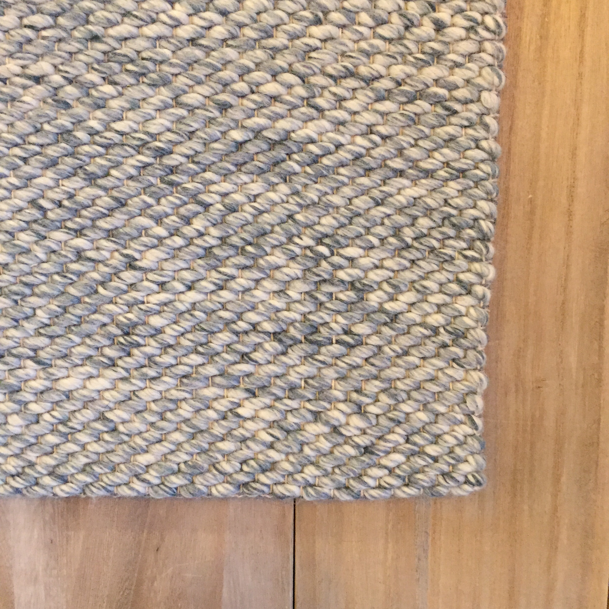 Loggia Sky Woven Area Rug Wool Blue Light Ivory Textural