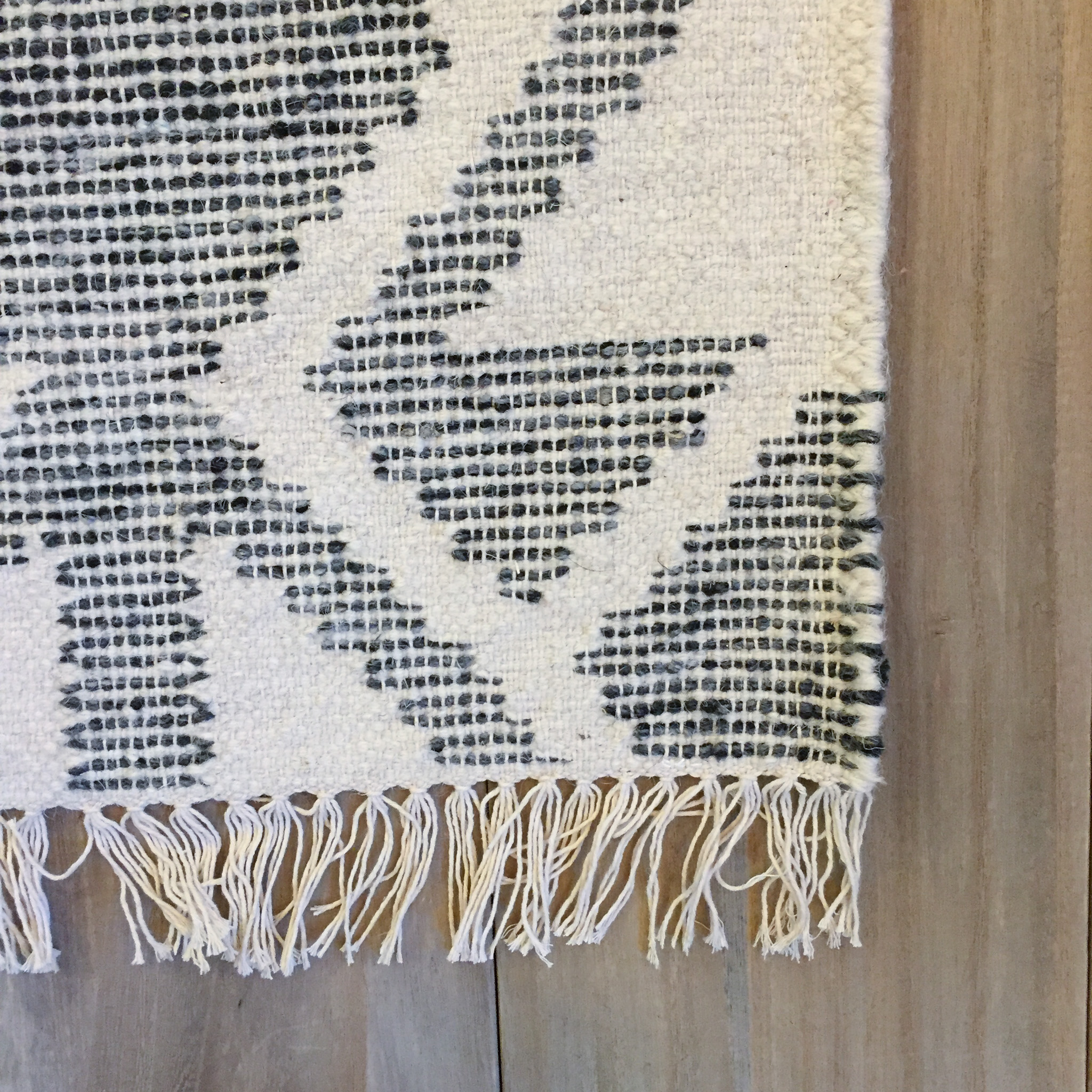 Wool Flatweave Area Rug Gray Black Ivory