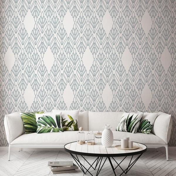 Deco Palm Sapphire Blue and White Wallpaper