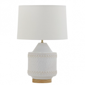 White Embossed Table Lamp Wood Base